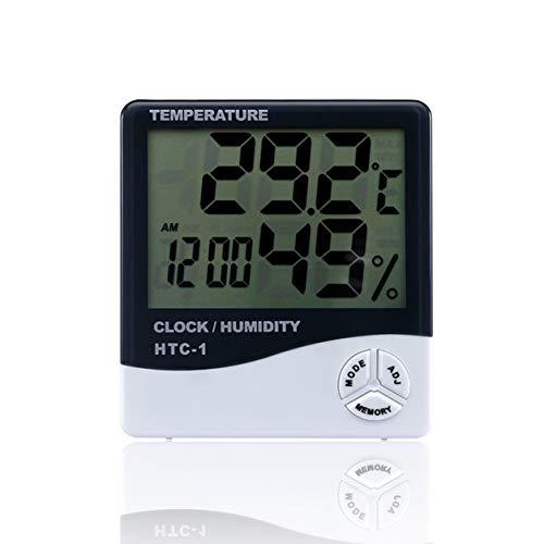YXDS Medidor de Humedad de Temperatura electrónico LCD de habitación Interior Termómetro Digital Higrómetro Estación meteorológica Reloj Despertador