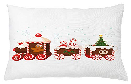 Ambesonne Christmas Throw Pillow Cushion Cover, Train with Gingerbread Cream Candy Cartoon Toys Snowflakes Presents, Decorative Rectangle Accent Pillow Case, 26' X 16', White Brown