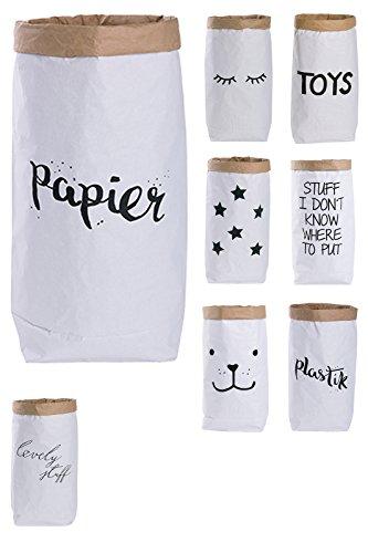 Lifestyle Lover Papiersack Paper Bag rund Kraftpapier Beutel Mülleimer Braun Weiß 'Papier'