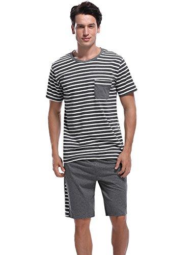 Aibrou Herren Sommer Baumwolle Kurzarm Pyjamas Set, Zweiteiliger Gestreifte Schlafanzug Short + Shirt mit Tasche Marineblau XXL