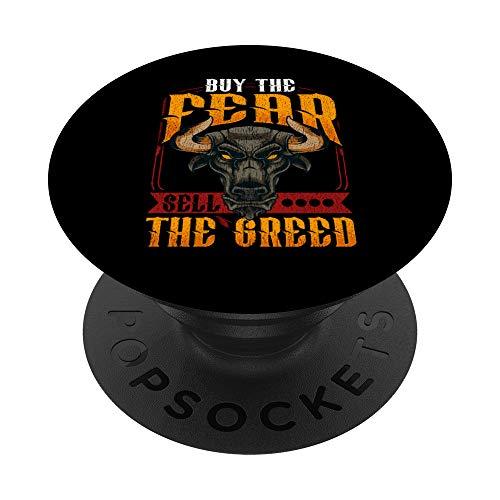 Buy The Fear Sell The Greed Trading & Investing Bull Stocks PopSockets PopGrip: Impugnatura per Telefoni Cellulari e Tablet Intercambiabile