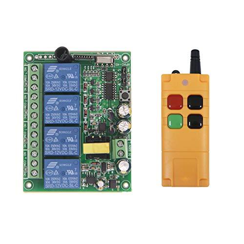 4 Kanal 220VAC Funkfernsteuerung kabellose Fernbedienung Schalter Funk Lichtschalter/Motorsteuerung für Rolladen Ankerwinde Garagentor Kran Regler 200M