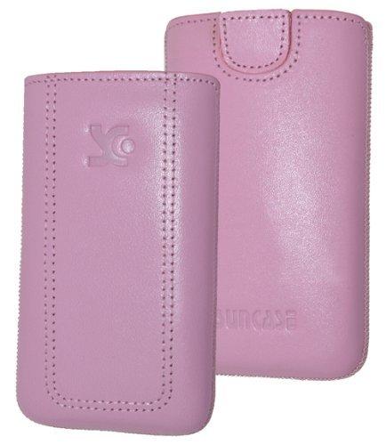 Original Suncase Tasche für / Emporia PURE / Leder Etui Handytasche Ledertasche Schutzhülle Hülle Hülle - Lasche mit Rückzugfunktion* in rosa