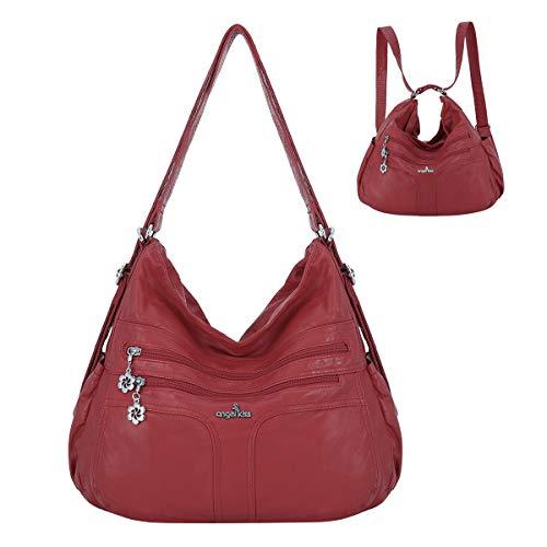 angel kiss Satchel Handbag for Women, Ultra Soft Washed Vegan Leather Crossbody Bag, Shoulder Bag, Tote Purse (A-0106#8901#2RED)