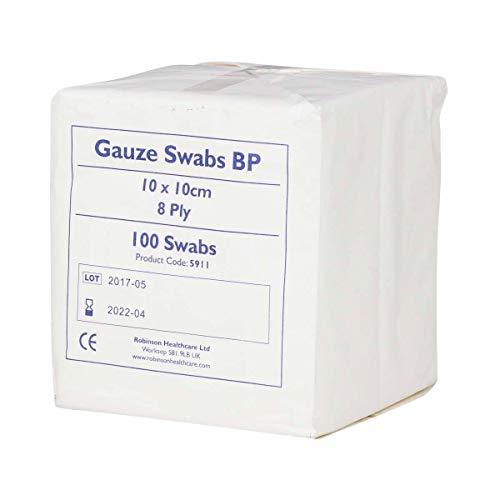 Premier 1660 - Gasas de algodón absorbentes (8capas, 10x 10cm, 100unidades), color blanco