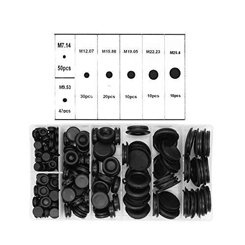 Yuhtech Juego de 170 tapones de goma para cortafuegos con ojales de goma, kit de juntas de alambre eléctrico para alambre, enchufe y cable