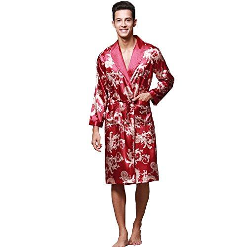 ZUEVI Men's Long Sleeve Satin Kimono Robe Dragon Lightweight Bathrobe Pajamas(RED-M)
