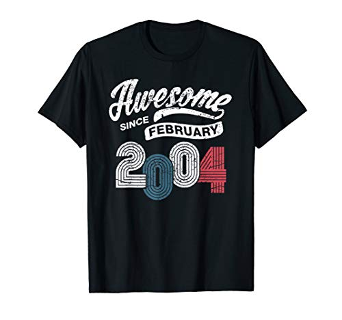 Awesome Since February 2004 16 Years Old 16th Birthday Gift T-Shirt