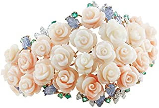 Bracciale Bouquet di Corallo, Diamanti, Smeraldi e Zaffiri
