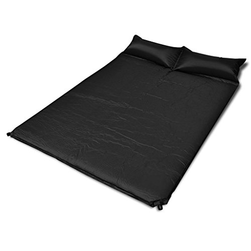WEILANDEAL zelfopblazende matras, zwart, 190 x 130 x 5 cm (2 personen) kleur: zwart, zelfopblazende matras, zwart