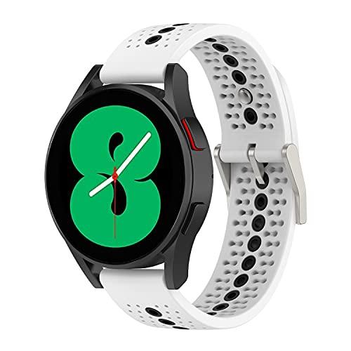 Yikamosi Compatible con Galaxy Watch 4 Correa,20MM Color Dual liberación rápida Silicona Suave Cierre de Acero Inoxidable Correas de Repuesto para Galaxy Watch 4/Watch 4 Classic,Blanco/Negro