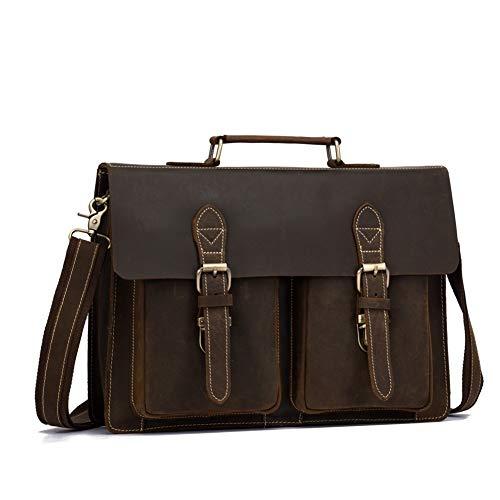 WFBD-CN Wallet Men Leather Men's Business Briefcase Man Bag Messenger Laptop Mens Genuine Leather Briefcase wallet Money Clip (Color : Brown, Size : S)