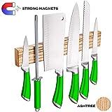 Magnetic knife strip - Magnetic knife Holder 12 inch - wooden magnet knife holder for wall - metal knives magnetic rack ashtree wood knife bar- kitchen knife magnetic strip storage