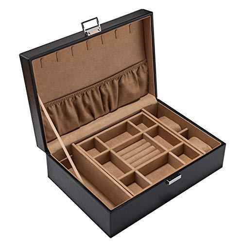 Joyero de doble capa de cuero artificial de estilo europeo, caja de colección de almacenamiento de brazalete de joyería, caja de empaque de joyería abatible, material de cuero artificial, caja de al