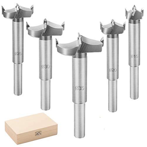 ZITFRI Forstnerbohrer Satz 5 Teilig Forstnerbohrer Ø 15mm / 20mm / 25mm / 30mm / 35mm Forstner Bohrer Set Holzbohrer mit Zentrierspitze, Astlochbohrer Topfbohrer für einfaches Bohren