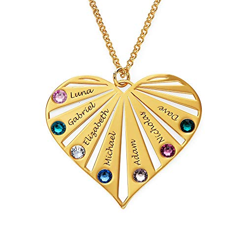 MyNameNecklace Family Necklace with birthstones for Mum in Sterling Silver 925 and Gold Plated - Jewellery Gift for Women (Gold Vermeil)