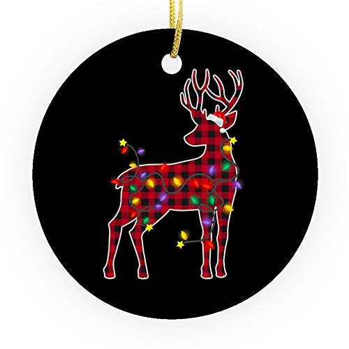Fastei Christmas Ornament Boxers Dog Red Plaid Silhouette Lovers Owners Dad Mom Lights Gift for Home Living Room Decoration Kit Tree Outdoor Ceramic Round 3x3in (Pack2/Pack3)