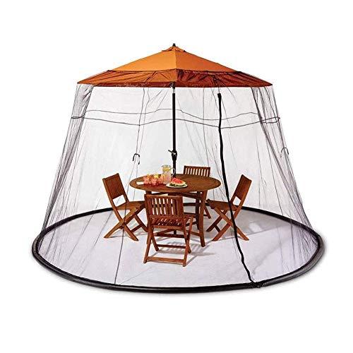 ZSM 75FT Patio al Aire Libre Paraguas Mosquito Mesa de Pantalla Cubra Mosquito Bug Net Cover Aquellos Tarde de Verano y Barbacoa por la Noche, Entrada con Cremallera Grande para facilitar el