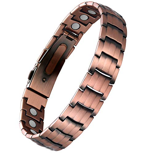 Wincone Copper Bracelet for Men Magnetic Therapy Bracelets Pain Relief for Arthritis & Carpal Tunnel Syndrome, 99.99% Pure Copper Magnetic Jewelry with Watch Buckle & 23 Pcs Strength Magnets