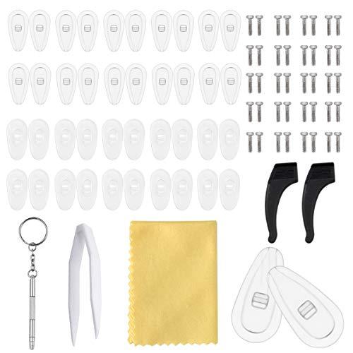 NATUCE 20 Paar Nasenpads, Luftkammer Nasenpads Silikon, Rutschfeste Brille Nasenpads, Brille Ohrbügel, Brillen Reparatur Set, Schraubbrillen Nasenpads mit Schrauben Pinzette und Reinigungstuch