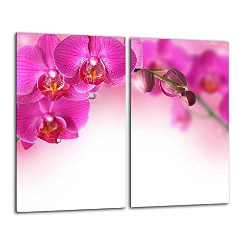 Orchidee 2 Set Glas Abdeckplatte 2x30x52 Schneidebrett Herdabdeckplatte