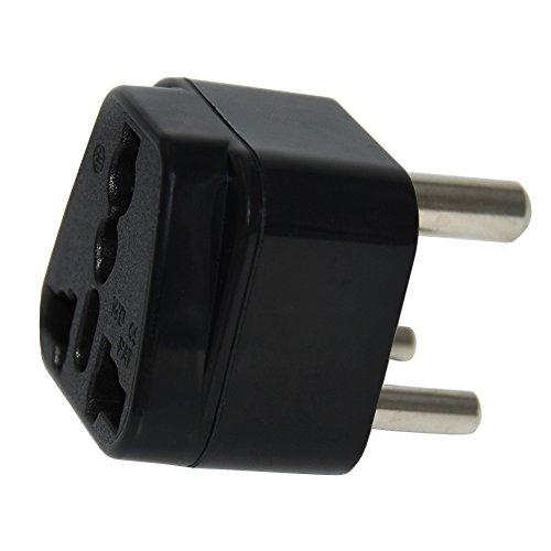 Adaptador de enchufe de tipo D y de color negro que permite usar dispositivos de Reino Unido en India, Egipto, Kenia, Mauricio, Zambia, Uruguay, Malta, Brunéi e Irak