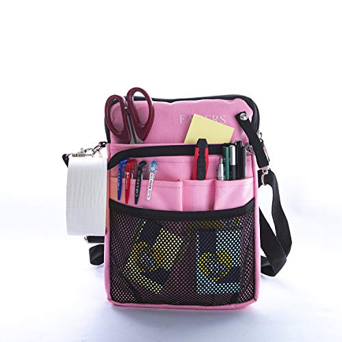 FAGERS Nurse Fanny Pack, Multi Compartment Nurse Tool Belt Organizer Pouch with Tape Holder for Women Man, 9 Pockets Nursing Waist Bag with StethoscopeHolder for Work, Scissors,10x7x1inch, Pink