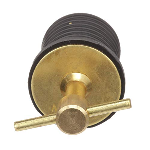 Attwood 7526A7 T-Handle Drain Plug, For 1-Inch-Diameter Drains, Locks in Place, Brass Handle, Rubber Plug