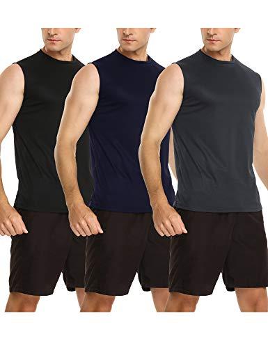 Sykooria 3 Piezas Camisetas de Tirantes para Hombre Camiseta Deportiva sin Mangas Secado Rápido Tanktops de Elástico Fitness Correr Ciclismo