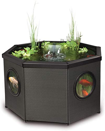 Pennington Aquagarden, Complete Raised Window Pond Kit - Octagon, Water Feature Pool, Includes Inpond 5 in 1 300 Pond & Water Pump with UV Clarifier, 106 Gallon Decking Pond, Three Fountain Displays,