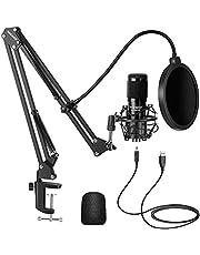Neewer USB Micrófono Kit 192KHZ / 24BIT Plug & Play Ordenador Cardioide Micrófono Podcast Micrófono Condensador con Chip Sonido Profesional para PC Karaoke/Youtube/Grabación de Juegos(Negro)