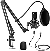 Neewer USB Microphone Kit 192 KHZ/24 BIT Plug & Play Computer Hypercardioid Microphone Podcast Condenser Microphone with...