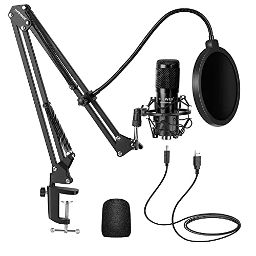 Neewer USB Microphone Kit, Plug & Play 192kHz/24-Bit Supercardioid Condenser Mic with Boom Arm and Shock Mount for YouTube Vlogging, Gaming, Podcasting, and Zoom Calls, NW-8000-USB, Black