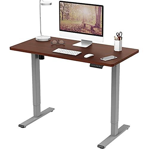 Flexispot E1 Elektrisch Höhenverstellbarer Schreibtisch mit Tischplatte 2-Fach-Teleskop, mit Memory-Steuerung (120 x 80 cm, Mahagoni+Grau)