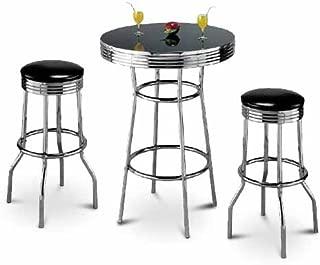 Coaster Home Furnishings Retro Polished Chrome Bar Table & Black Stool Set