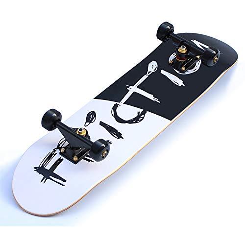 GCJJ-HSY Skateboard Profesional De 31 Pulgadas Completo, Patineta De Arce De 7 Pisos, Niña, Niño, Adolescente, Monopatín para Adultos (Blanco Y Negro) para Niños De 6 A 12 Años