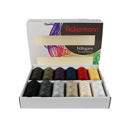 Ackermann 12.000m Nähgarn (12x 1.000m) Universal Nähgarn Farben-Mix in 12 Farben Stärke 120, Markengarn in sehr schöner und funktionalen Box