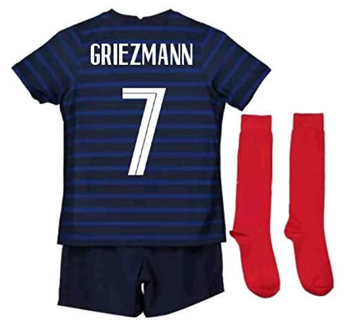 LISIMKEM 2020-2021 Kids/Youths Home Soccer Jersey/Short/Socks Colour Blue (France Griezmann #7(4-5years/size18))