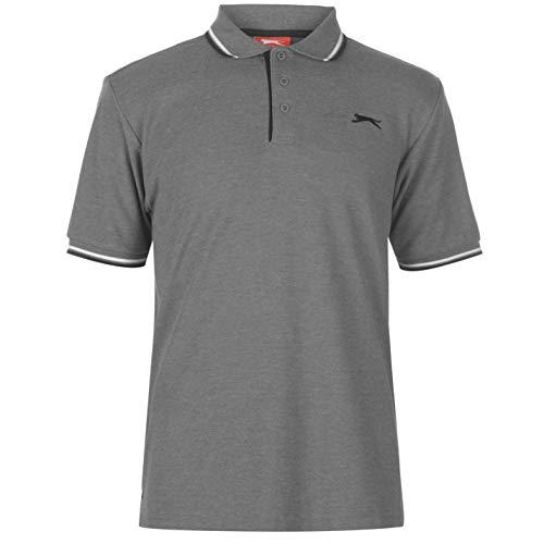 Slazenger Tipped Herren Polo Poloshirt T Shirt Kurzarm Classic Fit Tee Charcoal Marl L
