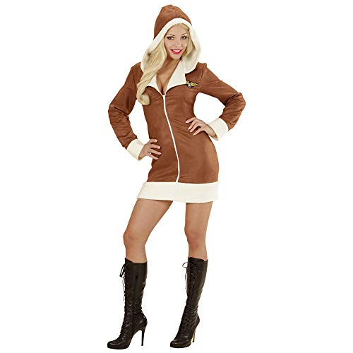 Widmann 06573 Adulte aviateur Fille Costume Robe avec Capuche ? Marron, L