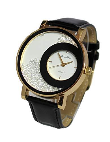 Giorgio & Dario - Estuche para mujer con reloj de pulsera de cuero y brillantes y pulsera doble con brillantes Dolce Vita, color negro