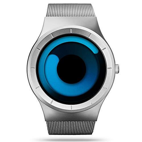 SINOBI Reloj De Cuarzo Deportivo para Hombre con Diseño De Acero Inoxidable y Personalidad De con Pulsera De Malla (S9659G-White/Blue)