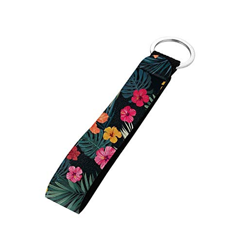 Aulaygo Llavero bolso de coche cámara teléfono pulsera llavero mano muñeca llavero, Hoja de palma de flor tropical, talla única