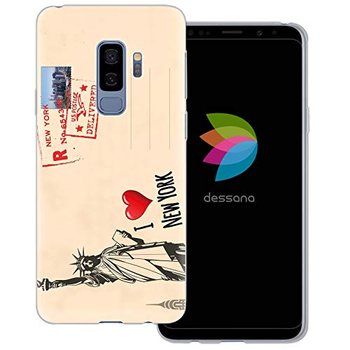 dessana postzegels transparante beschermhoes mobiele telefoon case cover tas voor Samsung Galaxy S Note, Samsung Galaxy S9 Plus, Ansichtkaart New York
