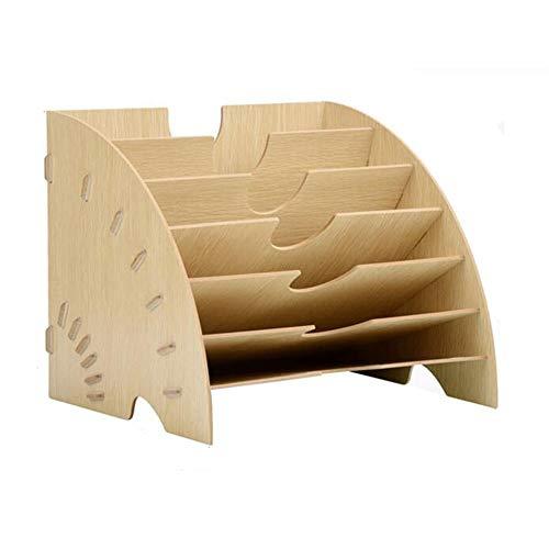 Supporto di legno A4 Document File Sorter carta Organizzatore Letteratura Magazine bagagli Rack Office Desk Tidy Vaschetta portacorrispondenza ufficio accessori HLZY (Color : B)