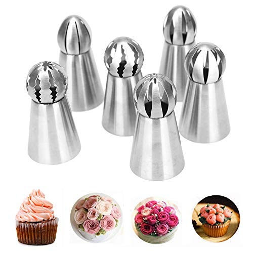 Xfaiz Spritztüllen-Set, 6 Stück, Edelstahl, für Kuchen und Cupcakes
