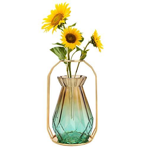 Florero de vidrio,3 Colores Elegir Flores Jarrón con Marco de Metal Jarrones de vidrio para flores moderno para sala de estar Dormitorio Cocina Cumpleaños Decoración para banquete de boda Gradient