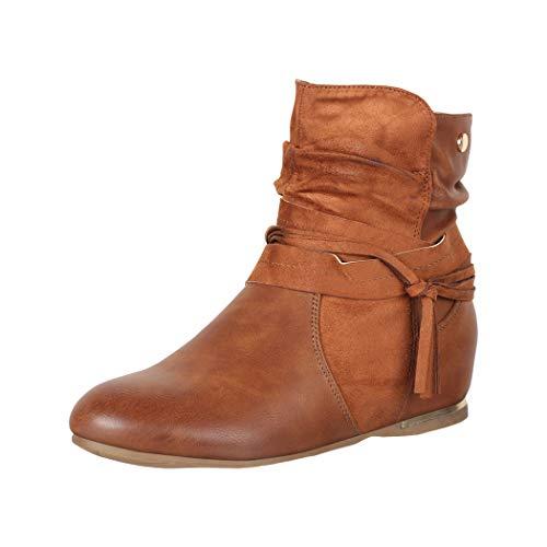 Elara Damen Stiefeletten Boots Hellbraun Chunkyrayan 7213 Camel-38