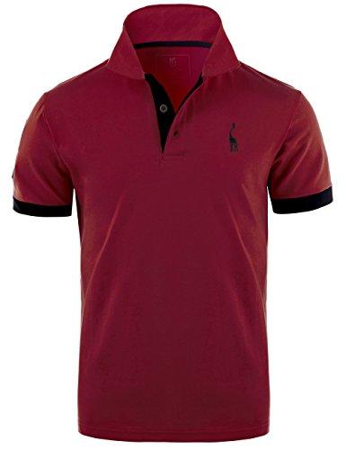 GLESTORE Herren Poloshirt Einfarbig Basic Kurzarm Polohemd M - XXL (T2-Burgund, L)
