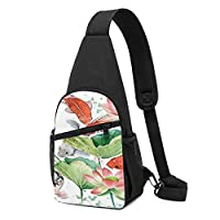 カラフルな魚水彩Koと蓮の花ピンクゴールド日本語 ショルダーバッグ チェストバッグ 多機能 軽量 メッセンジャーバッグ防水旅行ウエストバッグ 携帯ポーチ カードが 小物入れ 収納 ユニセックス クロスボデ